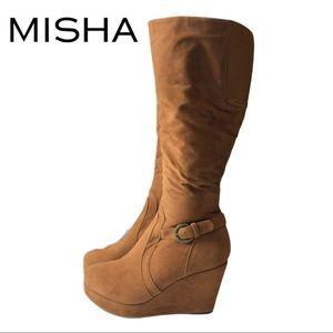 Misha Faux Brown Suede Platform High Boot Size 9